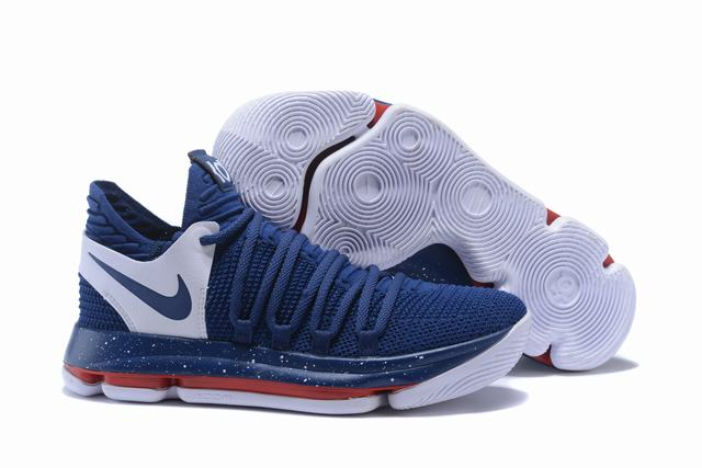 Nike KD 10 Shoes Dark Blue White Red