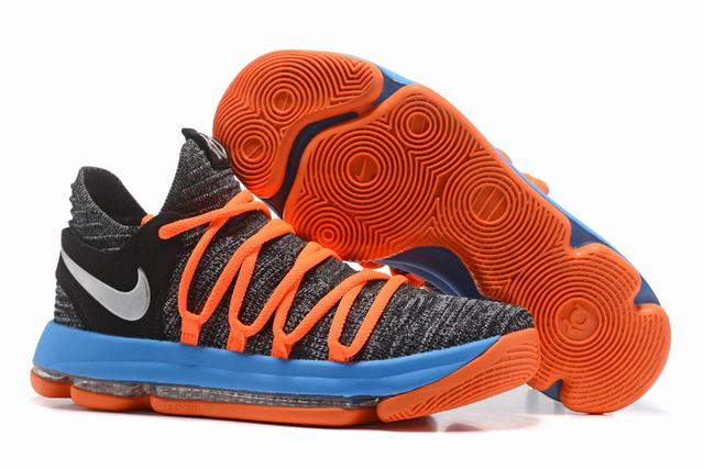 Nike KD 10 Shoes Grey Black Blue Orange