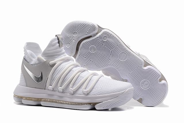 Nike KD 10 Shoes White Grey