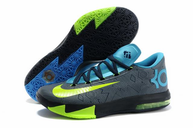 Nike KD 6 Shoes Black Blue Grey
