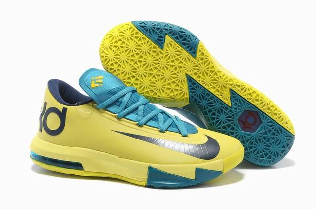 Nike KD 6 Shoes Yellow Light Blue