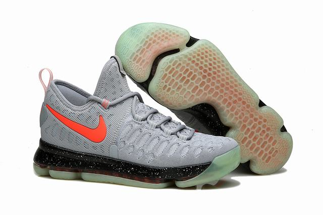 Nike KD 9 Shoes Grey Black Fluorescent Red