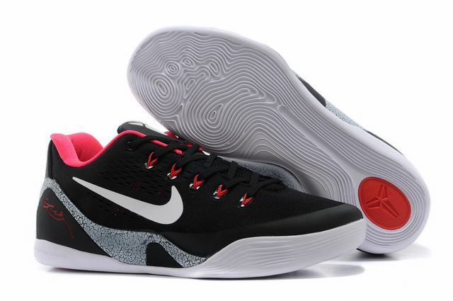 Kobe 9 Shoes Low Black White Pink