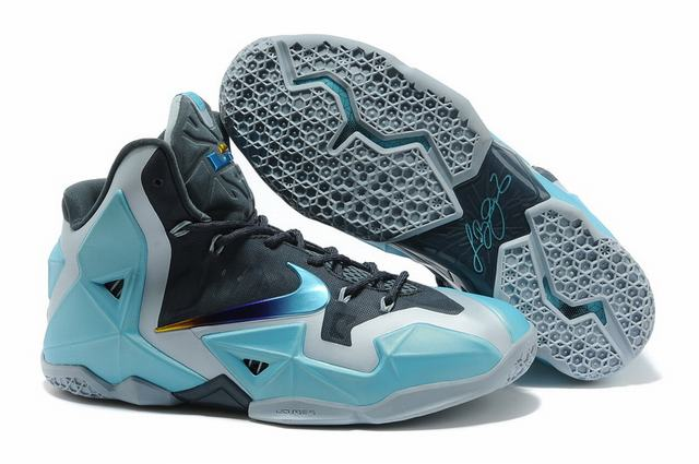 Nike Lebron James 11 Shoes Charcoal Grey Blue
