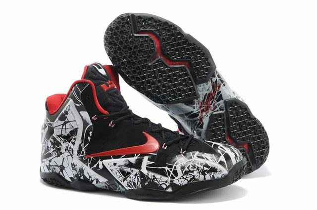 Nike Lebron James 11 Shoes Doodle White Black Red