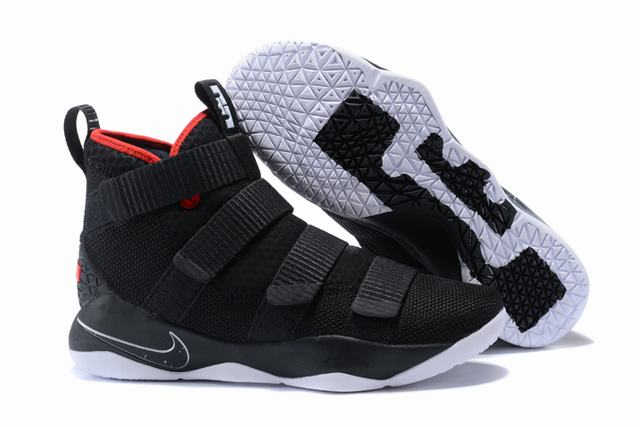Nike Lebron James Soldier 11 Shoes Black Red Black