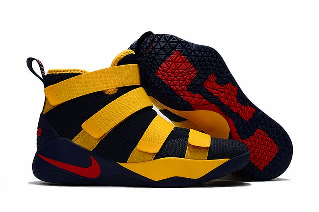 Nike Lebron James Soldier 11 Shoes Dark Blue Yellow Red