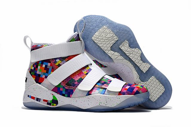 Nike Lebron James Soldier 11 Shoes Rainbow White