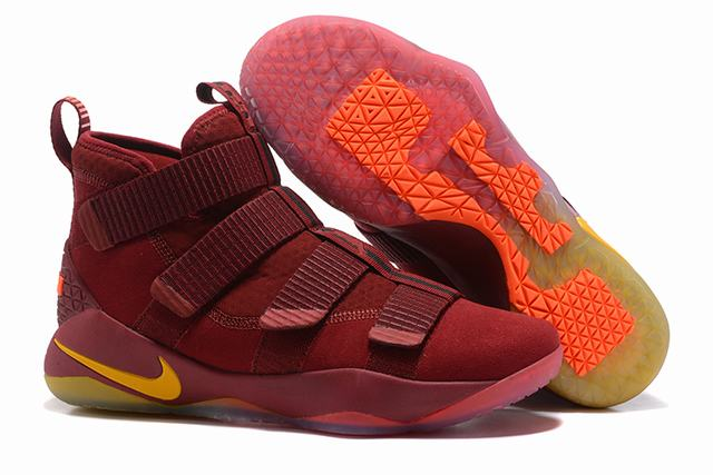 Nike Lebron James Soldier 11 Shoes Red Gold