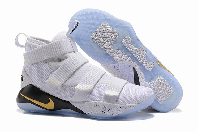 Nike Lebron James Soldier 11 Shoes White Gold