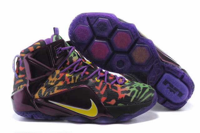 Nike Lebron James 12 Shoes Leopard Print Purple