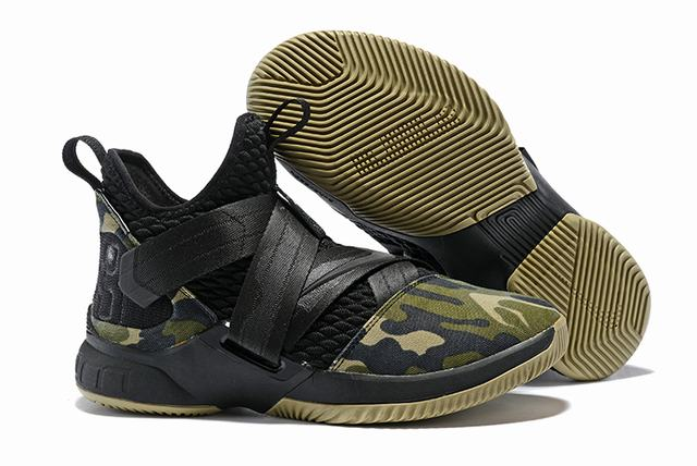 Nike Lebron James Soldier 12 Shoes Army Green Camo