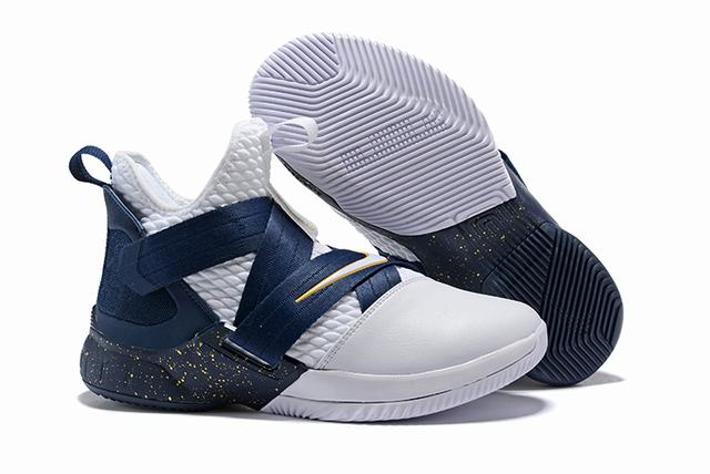 Nike Lebron James Soldier 12 Shoes Dark Blue White Gold