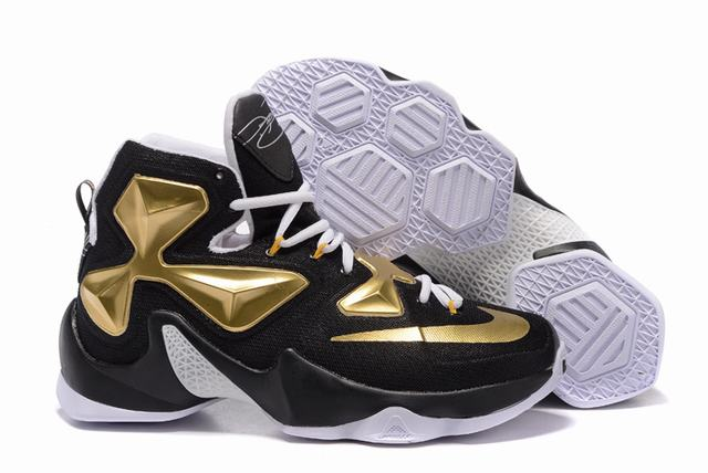 Nike Lebron James 13 Shoes Black Gold