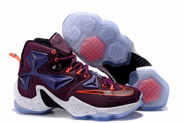 Nike Lebron James 13 Shoes Dark Red White Orange