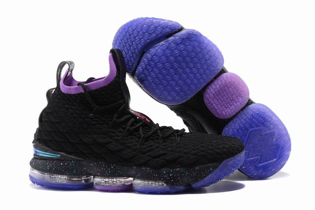 Nike Lebron James 15 Air Cushion Shoes Black Purple Dream-Broken logo