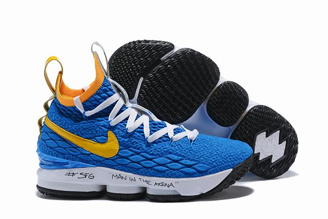 Nike Lebron James 15 Air Cushion Shoes Blue Yellow
