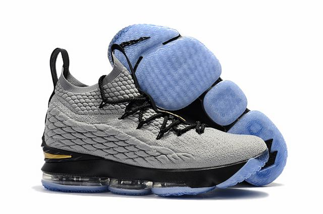 Nike Lebron James 15 Air Cushion Shoes Grey Black Blue Gold