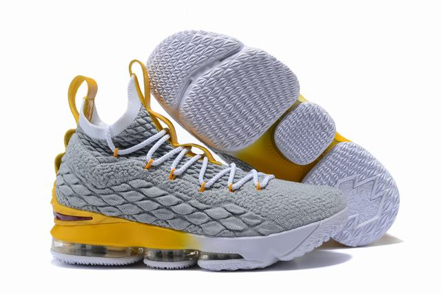 Nike Lebron James 15 Air Cushion Shoes Grey Yellow