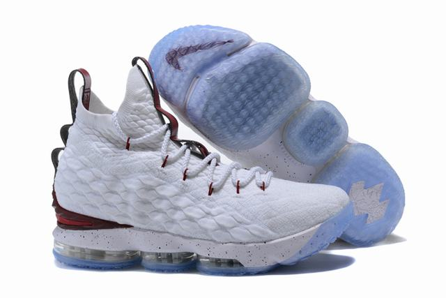 Nike Lebron James 15 Air Cushion Shoes White Wine Red
