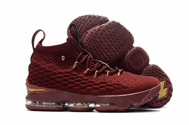 Nike Lebron James 15 Air Cushion Shoes Wine Red Gold