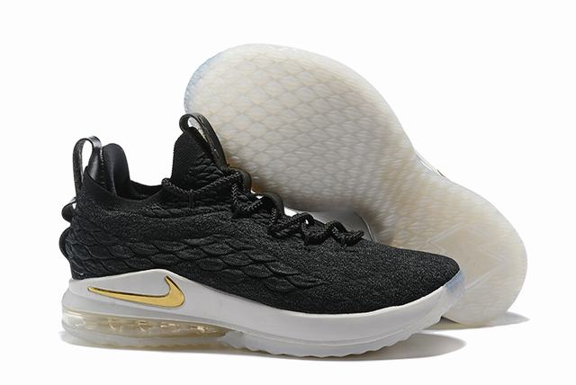 Nike Lebron James 15 Air Cushion Shoes Low Black Gold White
