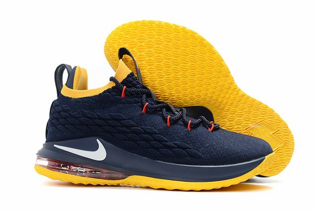 Nike Lebron James 15 Air Cushion Shoes Low Dark Blue Yellow White