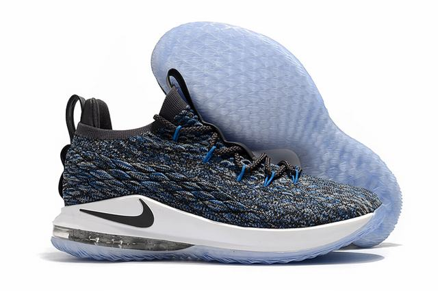 Nike Lebron James 15 Air Cushion Shoes Low Grey Black Blue