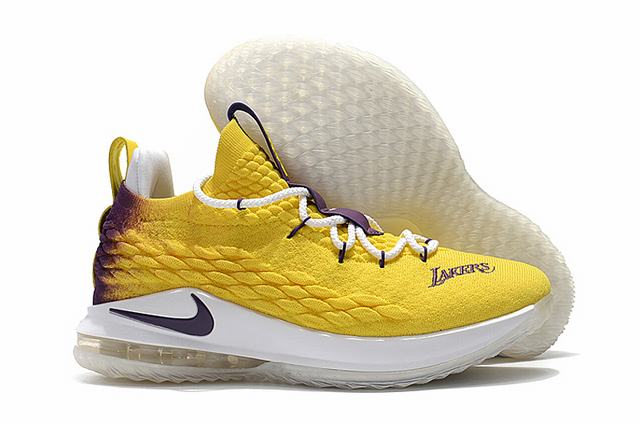 Nike Lebron James 15 Air Cushion Shoes Low Lakers Yellow Purple