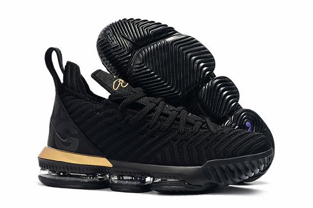 Nike Lebron James 16 Air Cushion Shoes Black Gold Black-logo