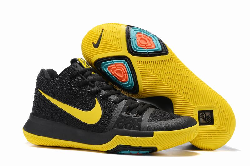 New Nike Kyire 3 Black Yellow-logo