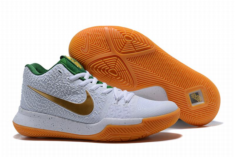 New Nike Kyire 3 White Green Gold-logo
