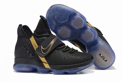 Nike Lebron James 14 Shoes Black Gold
