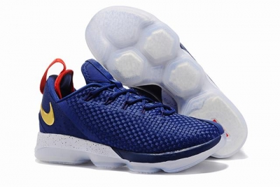 Nike Lebron James 14 Shoes Low Dark Blue Red