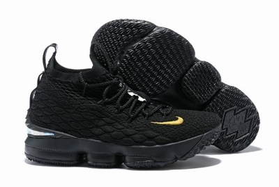 Nike Lebron James 15 Air Cushion Shoes All Black Gold