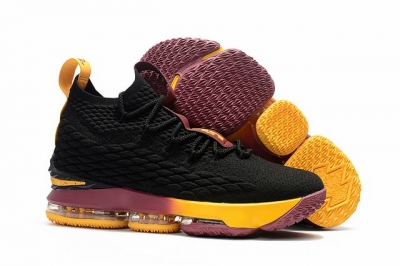 Nike Lebron James 15 Air Cushion Shoes Black Knight Black Wine Red Yellow