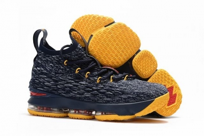 Nike Lebron James 15 Air Cushion Shoes Grey Dark Blue Yellow Red