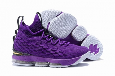 Nike Lebron James 15 Air Cushion Shoes Purple Black Gold