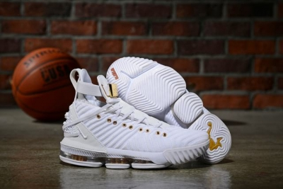 Nike Lebron James 16  HFR Air Cushion Relief Shoes White Gold