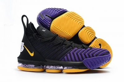 Nike Lebron James 16 Air Cushion Shoes Lakers Black Purple Yellow