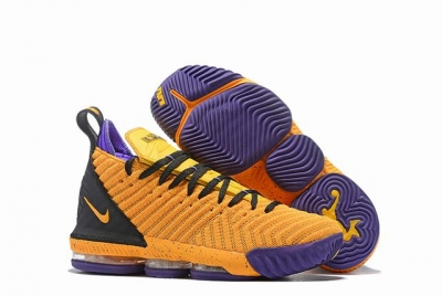 Nike Lebron James 16 Air Cushion Shoes Yellow Purple Black