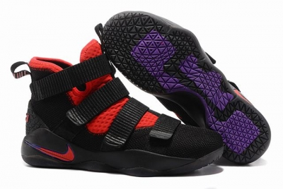 Nike Lebron James Soldier 11 Shoes Black Red Purple