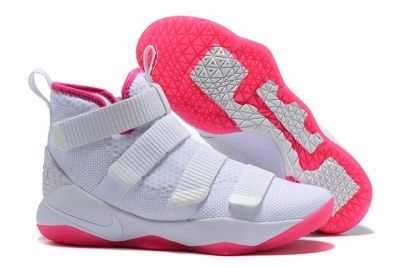 Nike Lebron James Soldier 11 Shoes White Pink Red