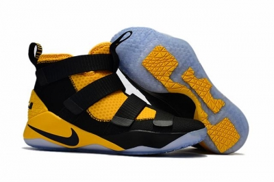 Nike Lebron James Soldier 11 Shoes Yellow Black Black