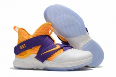 Nike Lebron James Soldier 12 Shoes Yellow Purple White