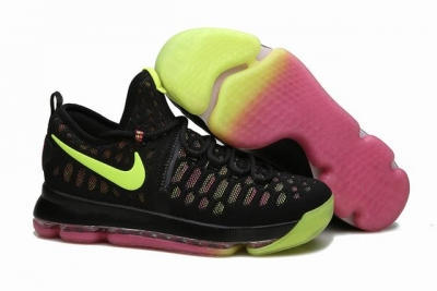 Nike KD 9 Shoes Black Fluorescent Green Pink