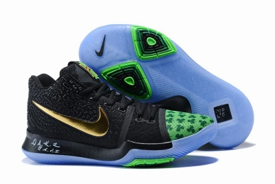 New Nike Kyire 3 Black Blue Gold-logo
