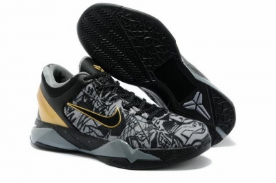 Kobe 7 Shoes Black Grey Gold