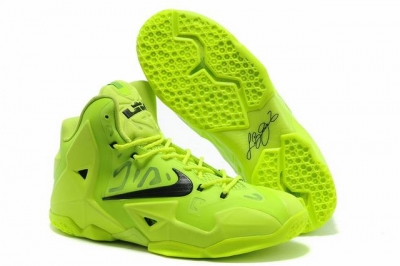 Nike Lebron James 11 Shoes Fluorescent Green Black