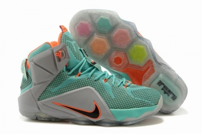 Nike Lebron James 12 Shoes Green Grey Orange